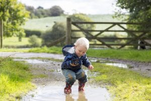 Puddle Splashing on the Farm